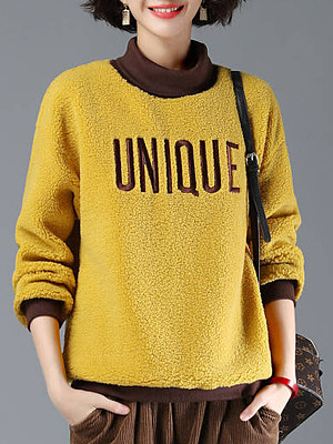 Women's Colorblock Long Sleeve Sweatshirt gender:female, season:autumn,winter,spring, collar:boss, pattern_type:letter print, sleeve_length:long sleeve, style:japanese and korean style, dress_occasion:daily, bust:118,clothing length:68,