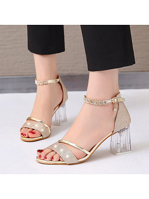 Berrylook Women's Casual Pure Color Hollow Transparent Heel Sandals sale, online shop, Solid Sandals,