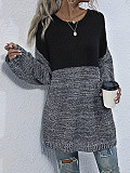 Image of Casual Round Neck Pullover Contrast Sweater