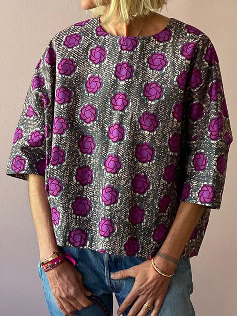 Round Neck Print Half Sleeve T-shirt