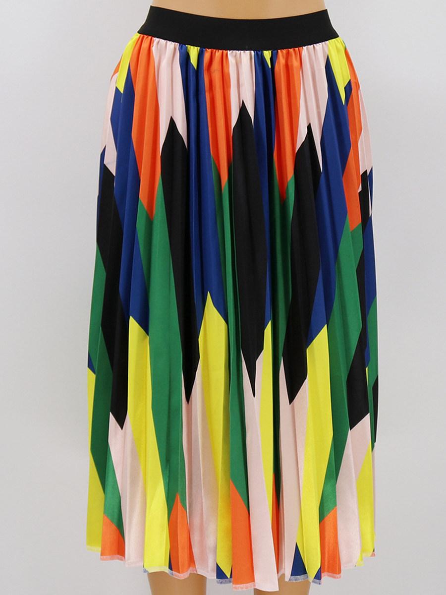 Digital printed large size pleated skirt high waist all-match skirt