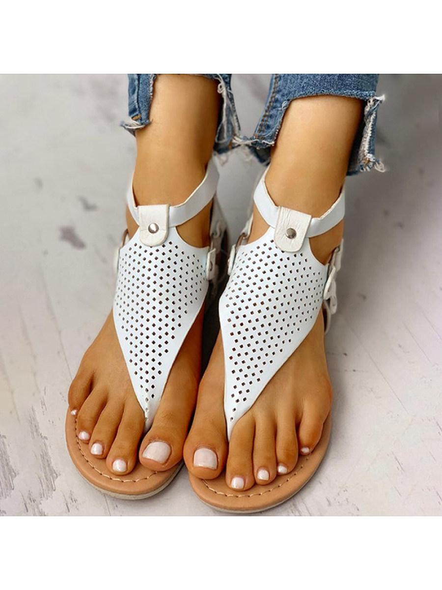 BerryLook Women's comfortable flat bottom clip toe sandals