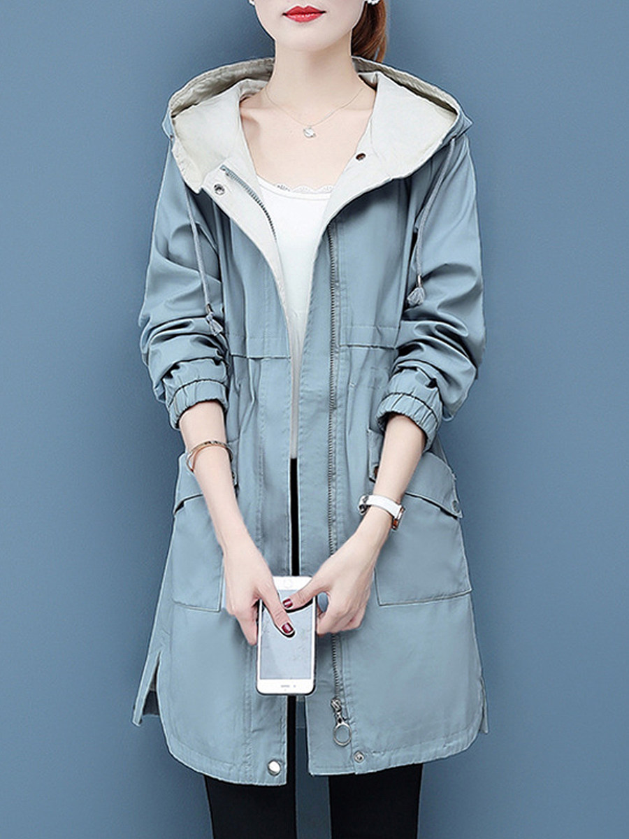Fashion hooded solid color drawstring patch pocket Trench Coats - from $29.95