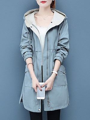 Fashion hooded solid color drawstring patch pocket Trench Coats фото