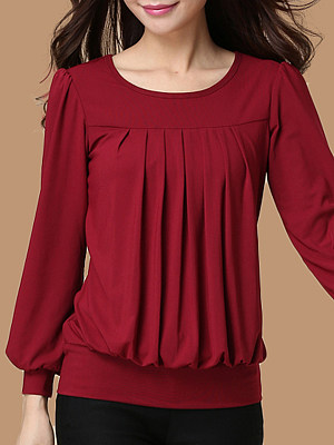 Round Neck Elegant Long Sleeve T-Shirt, 10722647