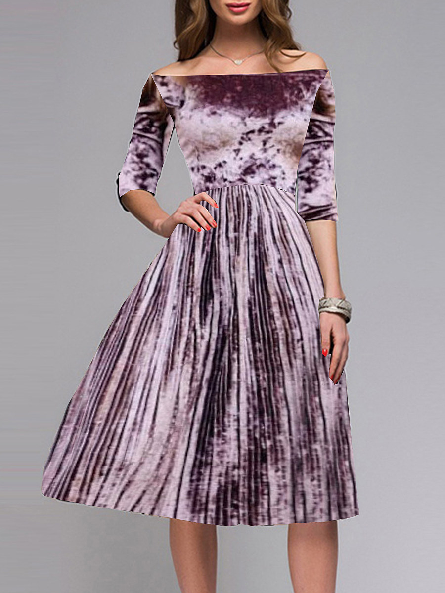 Women's one-shoulder pleated mid-sleeve dress - from $20.95