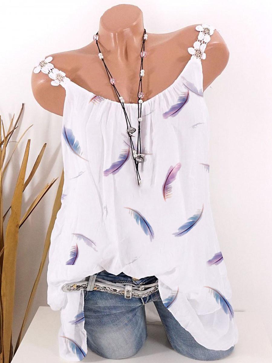BerryLook Feather Print Sleeveless T-shirt