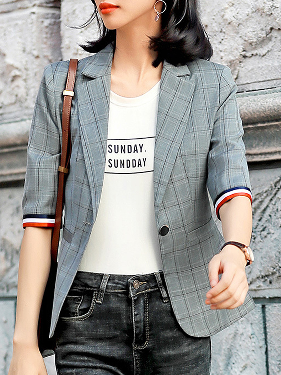 Fashion Color Matching Plaid Blazer