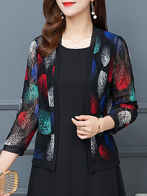 See-Through Floral Plain Long Sleeve Cardigan, 11242023