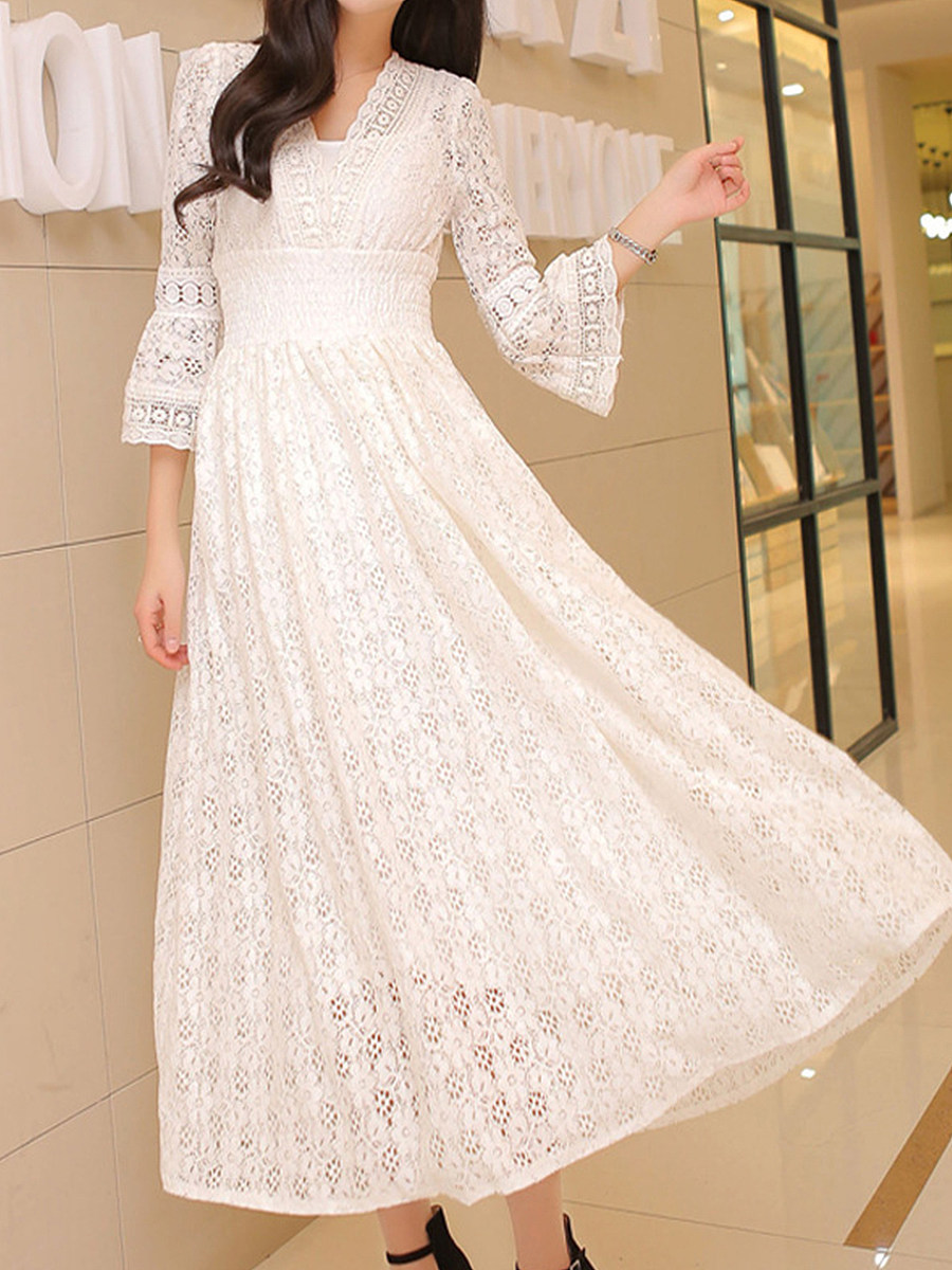 Fashion spring and autumn new style big lace waist dress