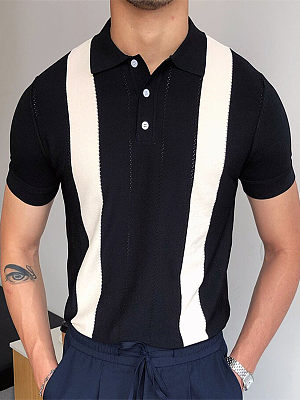 Fashion casual hit color polo T-shirt, 27494488, BERRYLOOK  - buy with discount