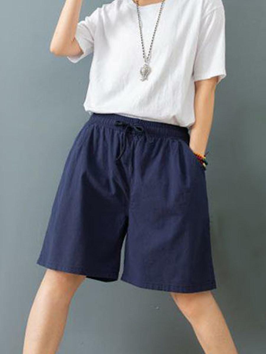 BerryLook Fashionable loose casual cotton and linen plus size wide leg pants shorts