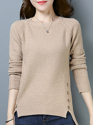 Round Neck Buttons Long Sleeve Knit Pullover, 10971429