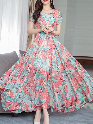 Women's Fashion Flower Print Dress фото