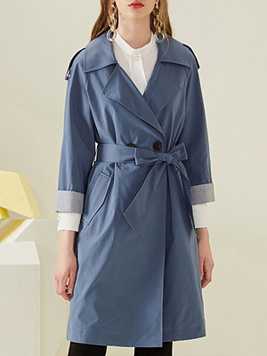 Popular mid-length over-the-knee women's trench coat gender:female, colour:blue, season:autumn,spring, texture:polyester, sleeve_length:long sleeve, sleeve_type:regular sleeve, style:japan and south korea, collar_type:fold collar, dress_occasion:daily, bust:114,clothing length:100,
