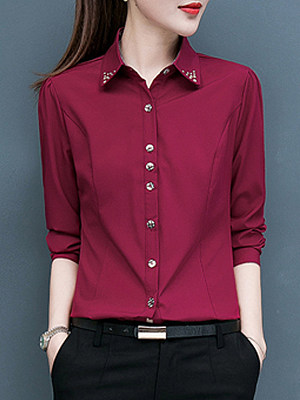Round Neck Plain Long Sleeve Blouse, 11415340