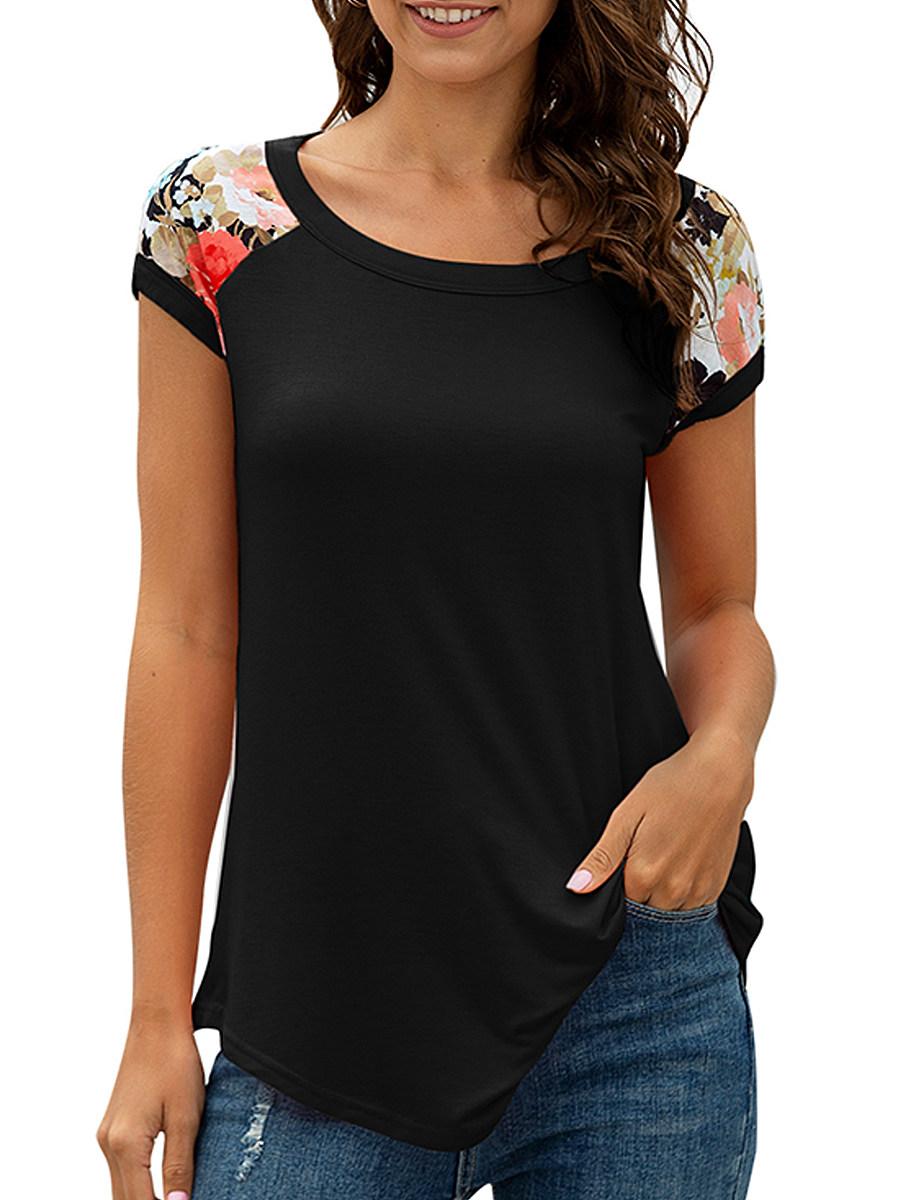 BerryLook Round Neck Patchwork Floral Short Sleeve T-shirt