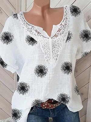V Neck Patchwork Print Short Sleeve Blouse, 24410524
