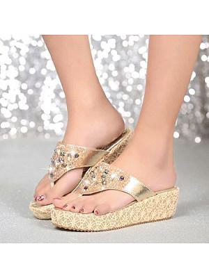 Fashion personality flat bottom wild rhinestone sandals, 10993339