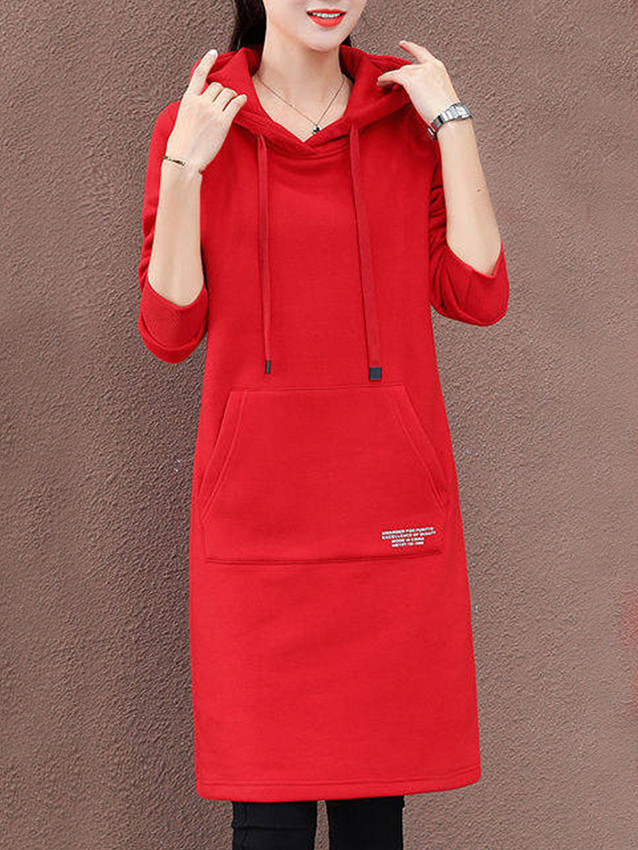 Women Casual Hooded Letter Long Sleeve shift  Dress - from $15.95