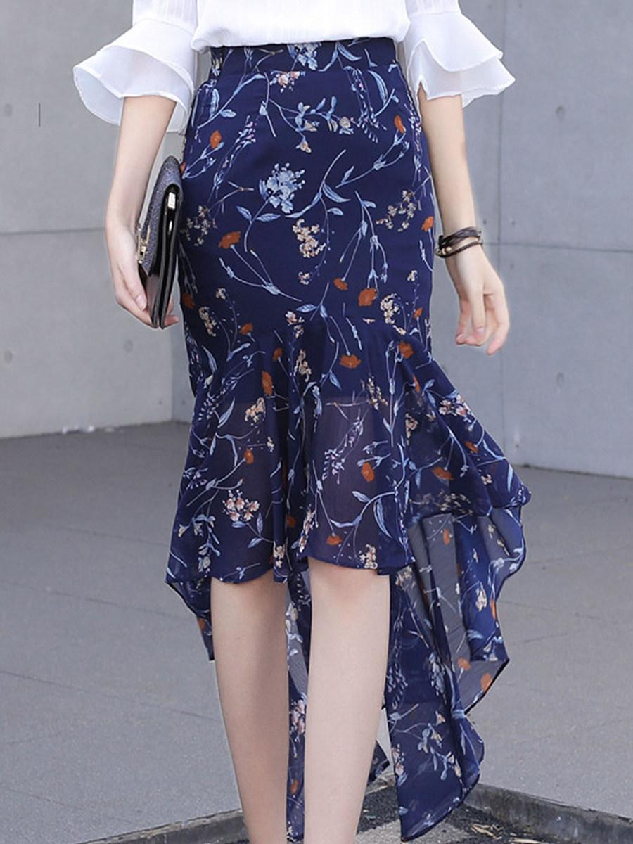 Mid-length floral bust skirt