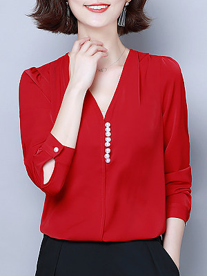 V Neck Elegant Buttons Long Sleeve Blouse, 10710262