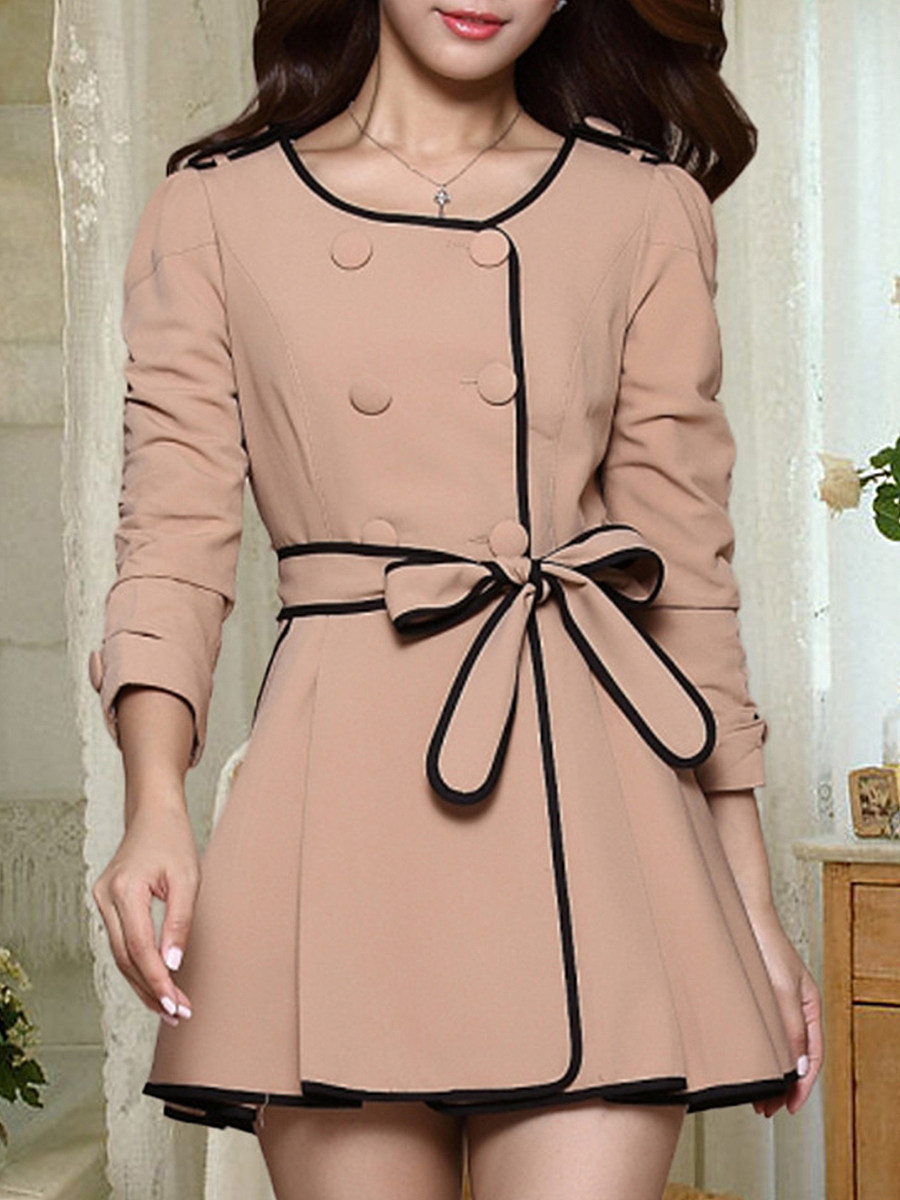 Fashion solid color double row buckle round collar coat - from $31.95