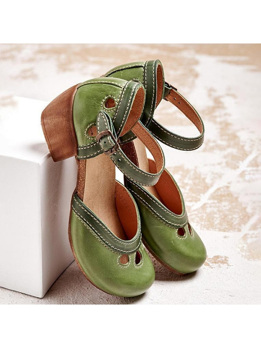 Women's retro block heel sandals
