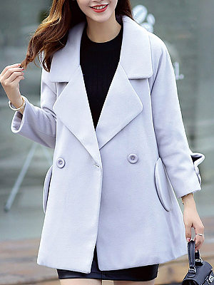 Womens Fashion Lapel Midi Woolen coat gender:female, colour:gray, season:autumn,winter,spring, texture:polyester, sleeve_length:long sleeve, style:japan and south korea, dress_occasion:daily, bust:118,clothing length:78.5,shoulder width:65,