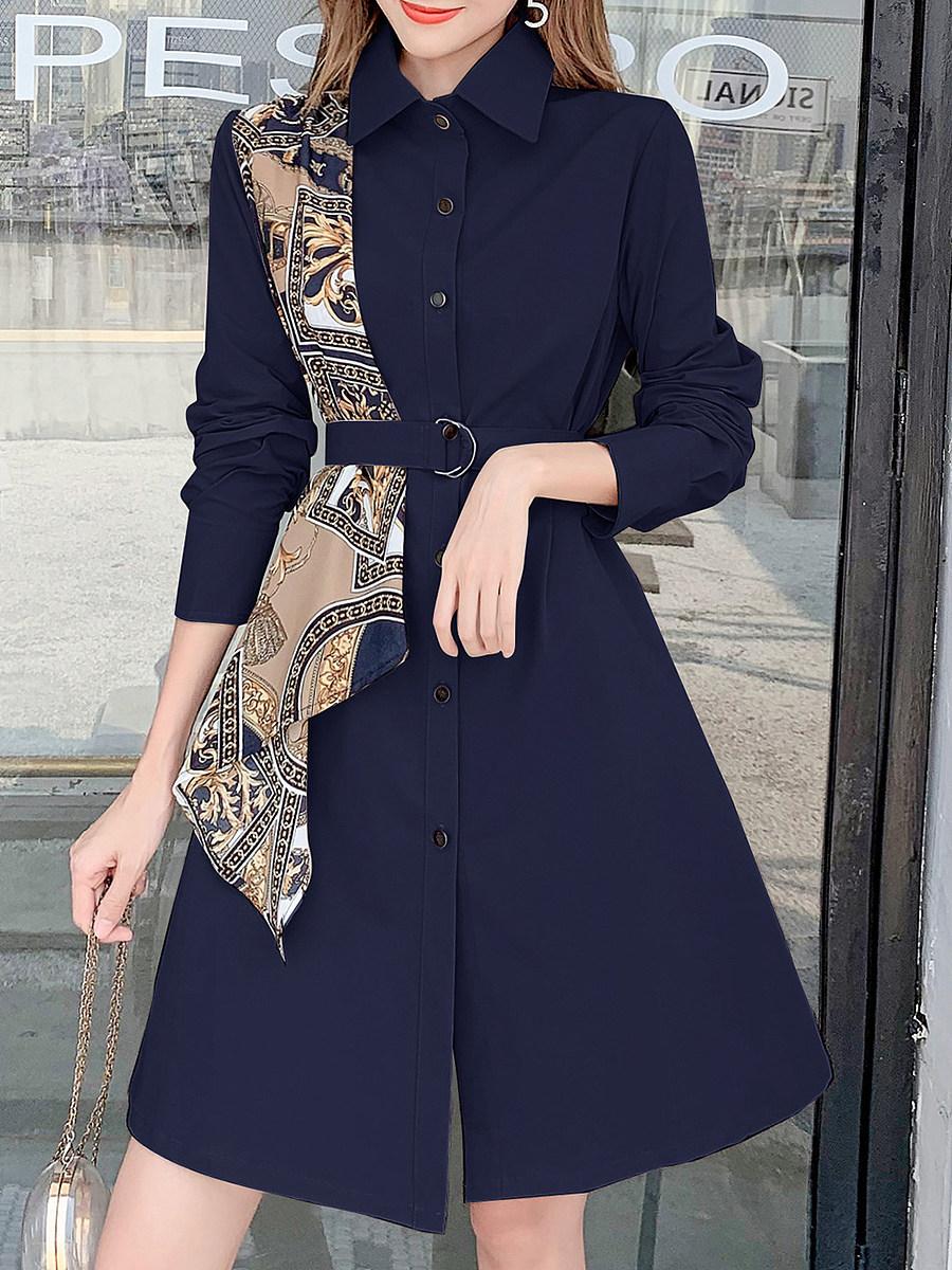 Fashion silk scarf stitching trench coat