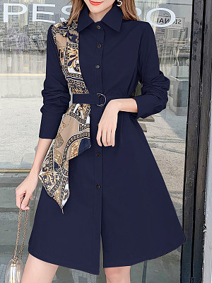 Fashion silk scarf stitching trench coat фото