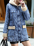 Image of Mid-length denim hooded jacket