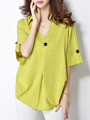 V Neck Decorative Buttons Plain Loose Fitting Three-quarter Sleeve Blouse, 11356048