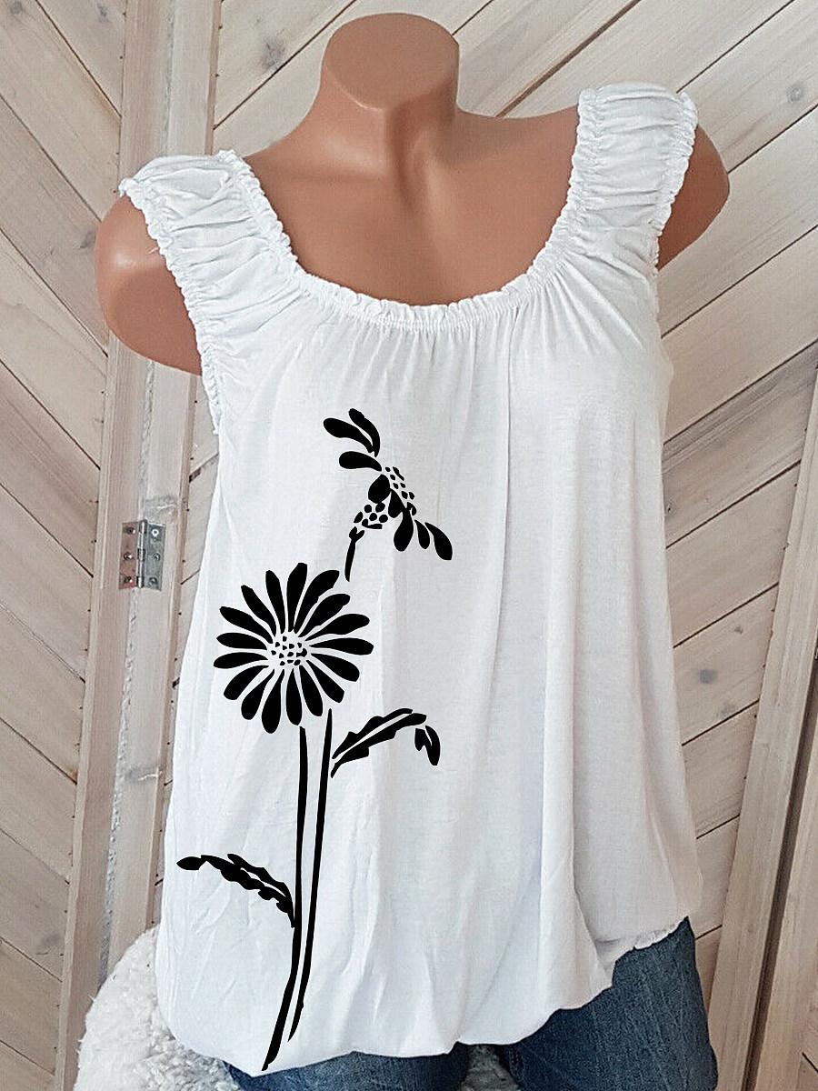 Flower Print Sleeveless T-shirt