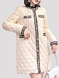 Image of Woven Diamond Lattice Mid-Length Cotton Jacket