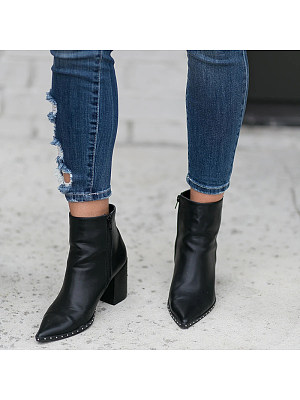 Fashion ladies pointed chunky heels ankle boots, 11006065