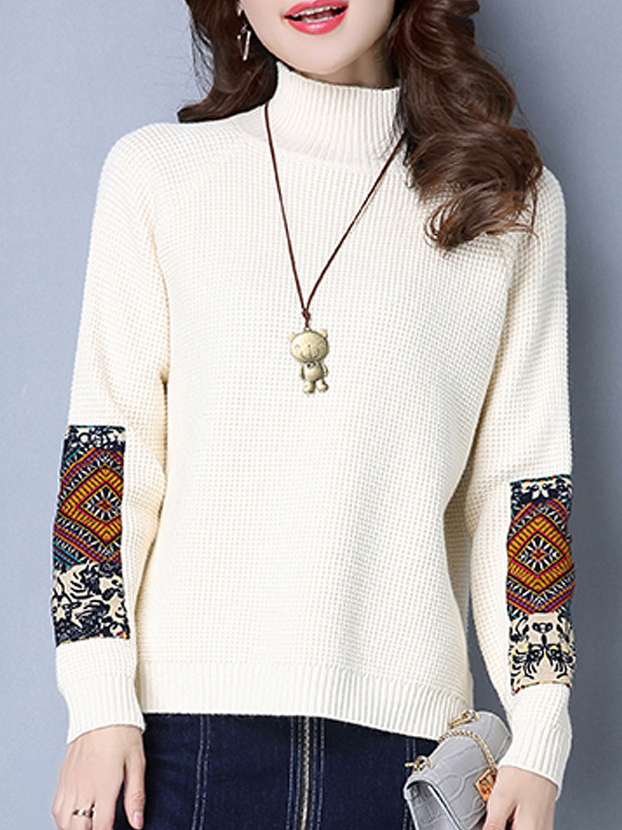Short High Collar Patchwork Elegant Long Sleeve Knit Pullover - from $23.95