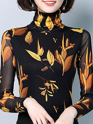 Heap Collar Patchwork Elegant Long Sleeve T-Shirt, 10065044