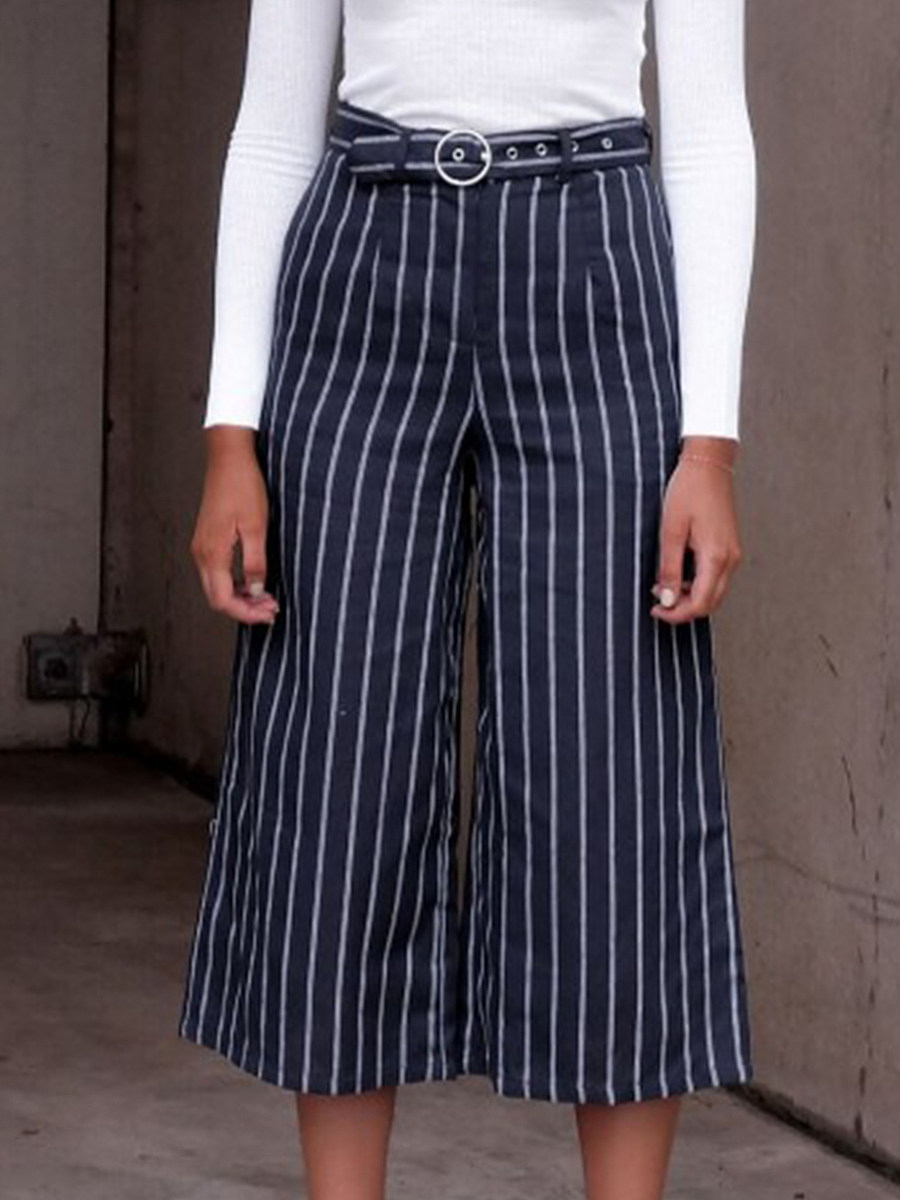 Casual high waist striped loose cropped wide-leg pants