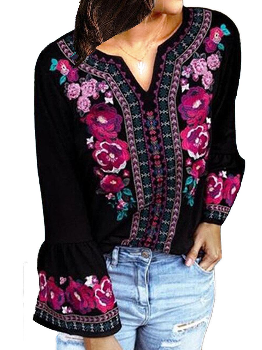 V Neck Floral Printed Bell Sleeve T-shirt