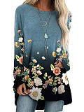 Image of Fashion flower print casual long sleeve T-shirt