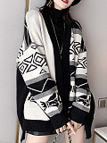 Image of Printed Long-Sleeved Knitted Cardigan Jacket