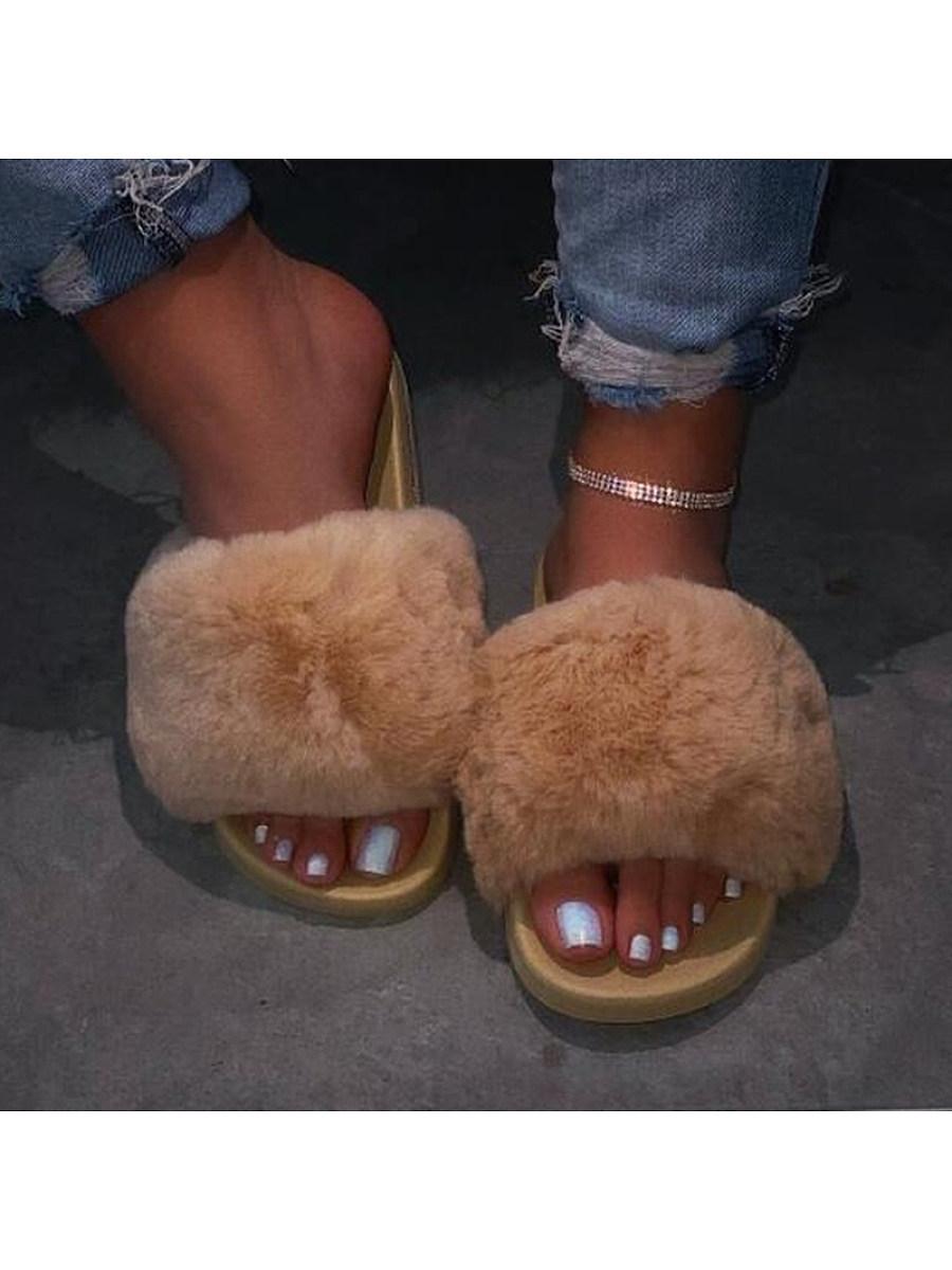 BerryLook Women's rhinestone Flat Oversized Furry Sandals