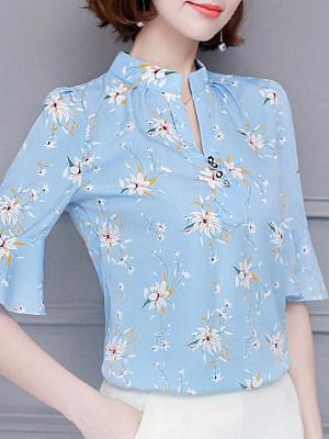 V Neck Floral Printed Short Sleeve Blouse, 11298138