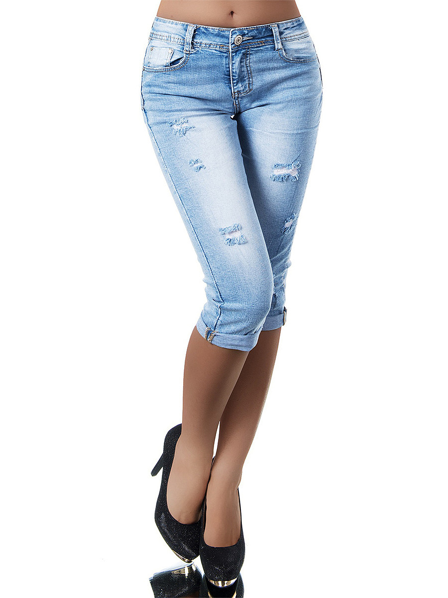 High-waist stretch-through slim-fit jeans shorts