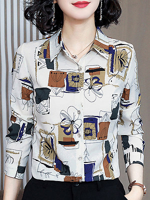 Turn Down Collar Printed Long Sleeve Blouse, 11318313