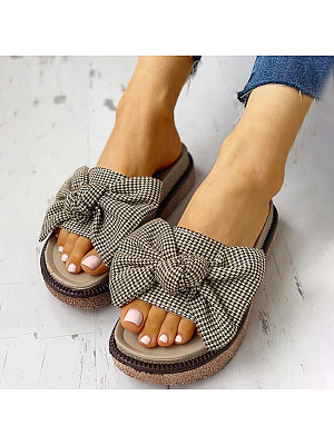 BERRYLOOK / Women's slippers with bow soft bottom