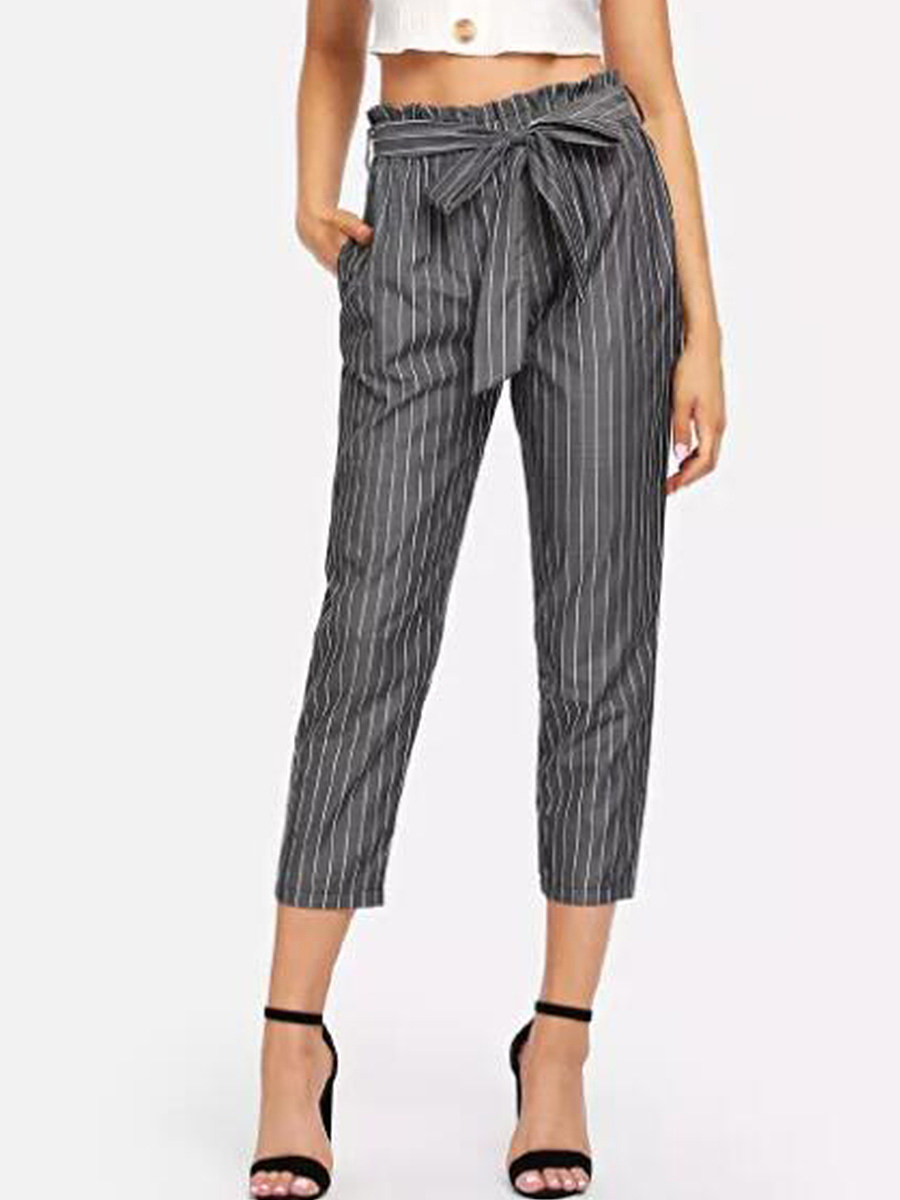 Fashion high waist cropped trousers casual pants