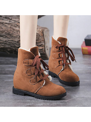 Women's casual solid color lace-up cotton boots, 9911661