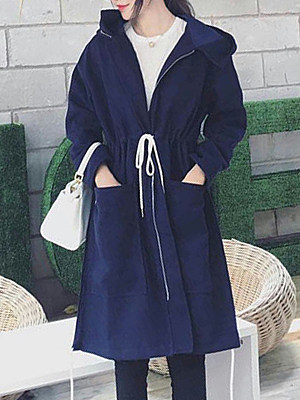 Women's Fashion Metal Zipper Long Hooded Pocket Woolen Coat gender:female, colour:blue, season:autumn,winter,spring, texture:polyester, sleeve_length:long sleeve, sleeve_type:regular sleeve, style:japan and south korea, collar_type:zipper collar, design:laced, laundry_guide:machine washable, dress_occasion:street shot, bust:120,clothing length:95,shoulder width:53,sleeve length:49,